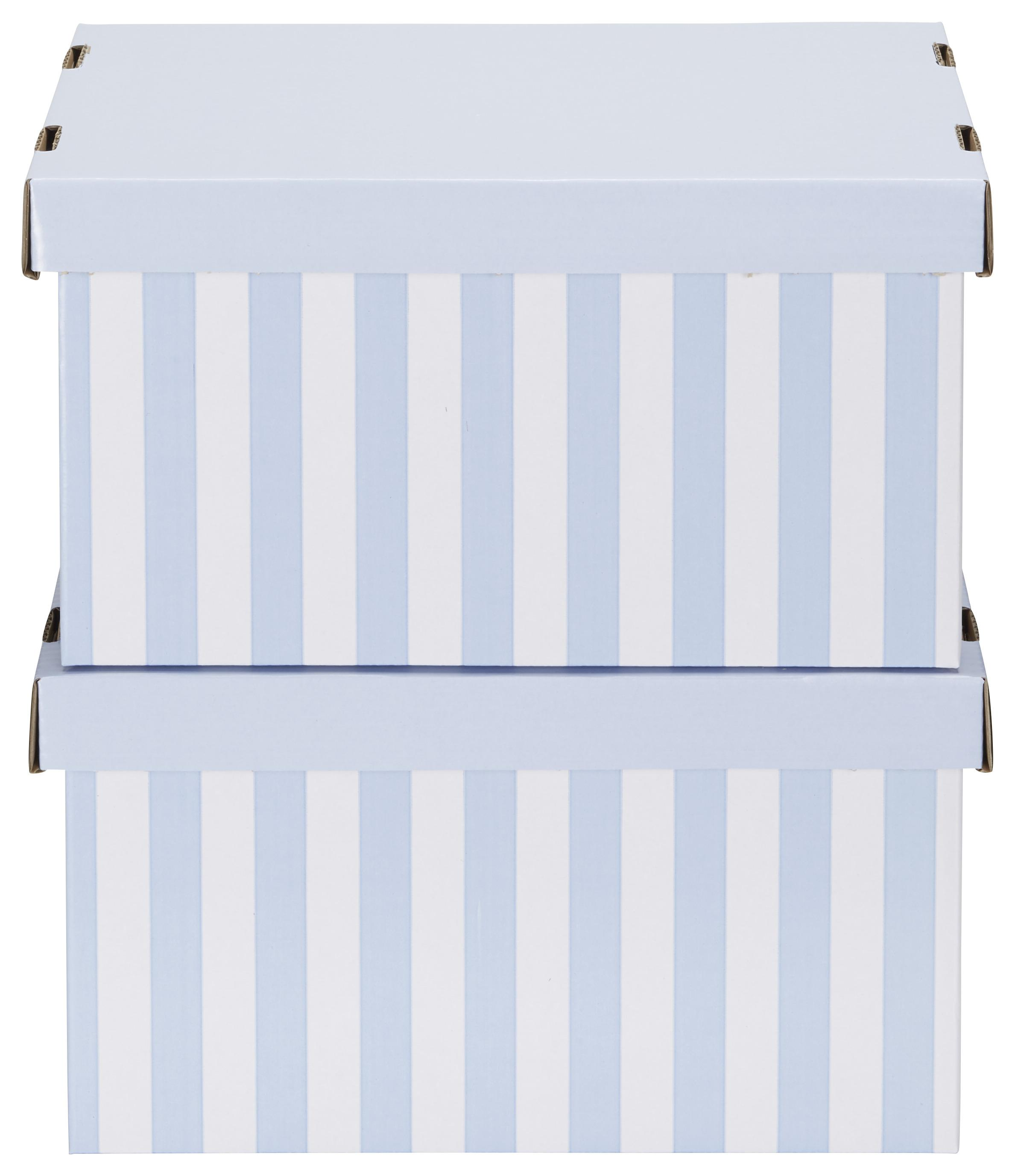 Image of Box mit Deckel Jimmy Blau/Weiß.