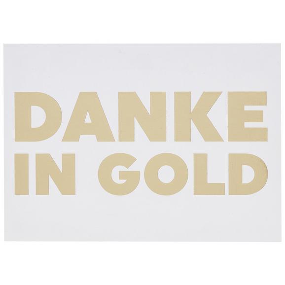 Postkarte Danke in Gold - Goldfarben/Weiß, MODERN, Papier (14,8/10,5cm)