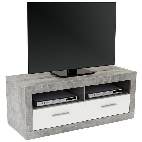 Element Tv Malta - Alb/Gri, Modern, Compozit lemnos (128/50/42cm)