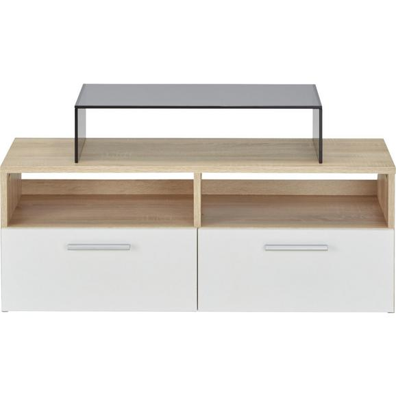 Lowboard in Weiß/Eichefarben - Eichefarben/Silberfarben, MODERN, Holzwerkstoff/Kunststoff (95/35/36cm) - Mömax modern living