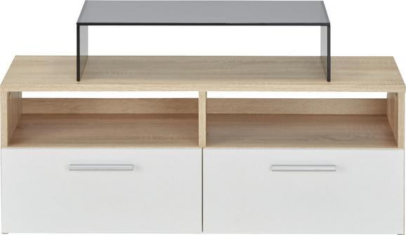 Nizka Omarica Rana - bela/hrast, Moderno, umetna masa/leseni material (95/35/36cm)