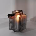 Windlicht Malin Ø/h ca. 14/16 cm - Hellgrau, MODERN, Glas (14cm) - Bessagi Home