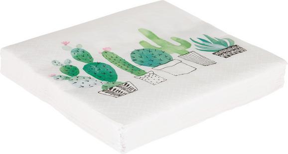 Serviette Cactus Garden in Weiß/Grün - Smaragdgrün/Hellgrün, Papier (33/33cm)