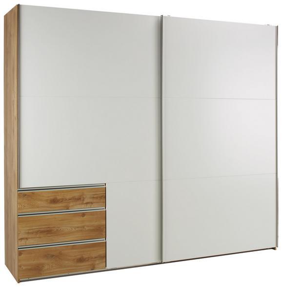 Omara Z Drsnimi Vrati Level 36 - aluminij/bela, Konvencionalno, kovina/leseni material (200/216/65cm) - Premium Living
