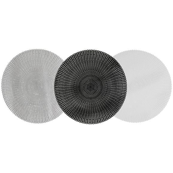 Tischset Alice verschiedene Farben - Silberfarben/Schwarz, Kunststoff (41cm)