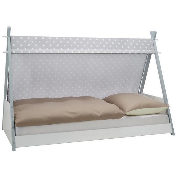 Bett in Grau ca. 90x200cm - Weiß/Grau, MODERN, Holz/Textil (208/136/106cm) - Zandiara