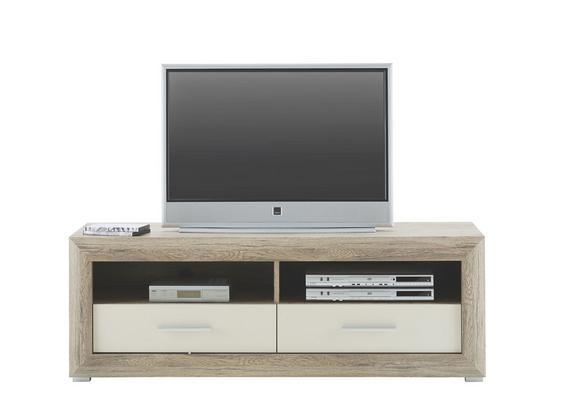 TV-Element Weiß Hochglanz/Eichefarben - Chromfarben/Eichefarben, KONVENTIONELL, Holzwerkstoff/Kunststoff (140/49/49cm) - Based