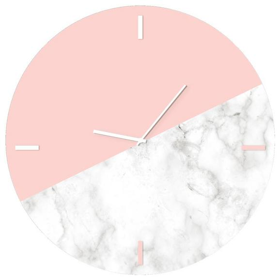 Wanduhr Glasart Ø ca. 30cm - Pink/Weiß, Glas/Kunststoff (30cm) - Mömax modern living