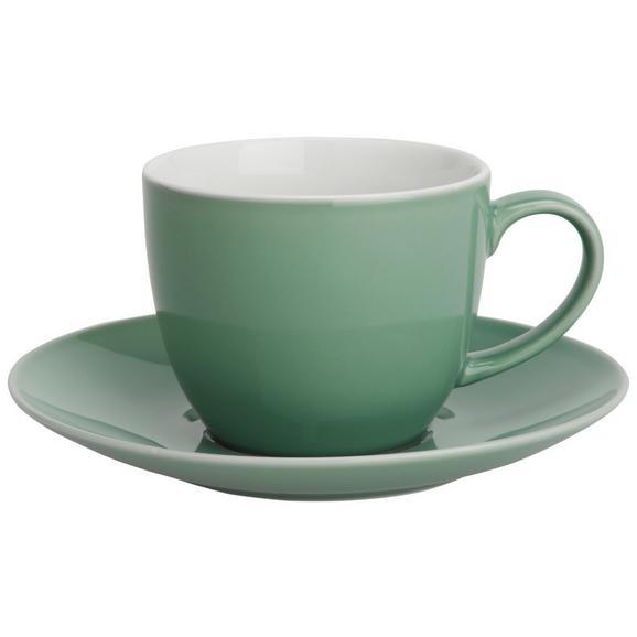 Skodelica Za Kavo S Krožničkom Sandy - meta zelena, Konvencionalno, keramika (5/6,9cm) - Mömax modern living