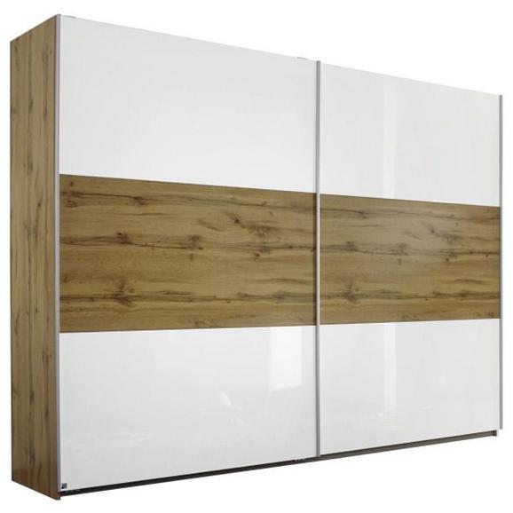 Schwebetürenschrank in Weiß Hochglanz - Eichefarben/Alufarben, Holz/Holzwerkstoff (261/210/59cm) - Modern Living