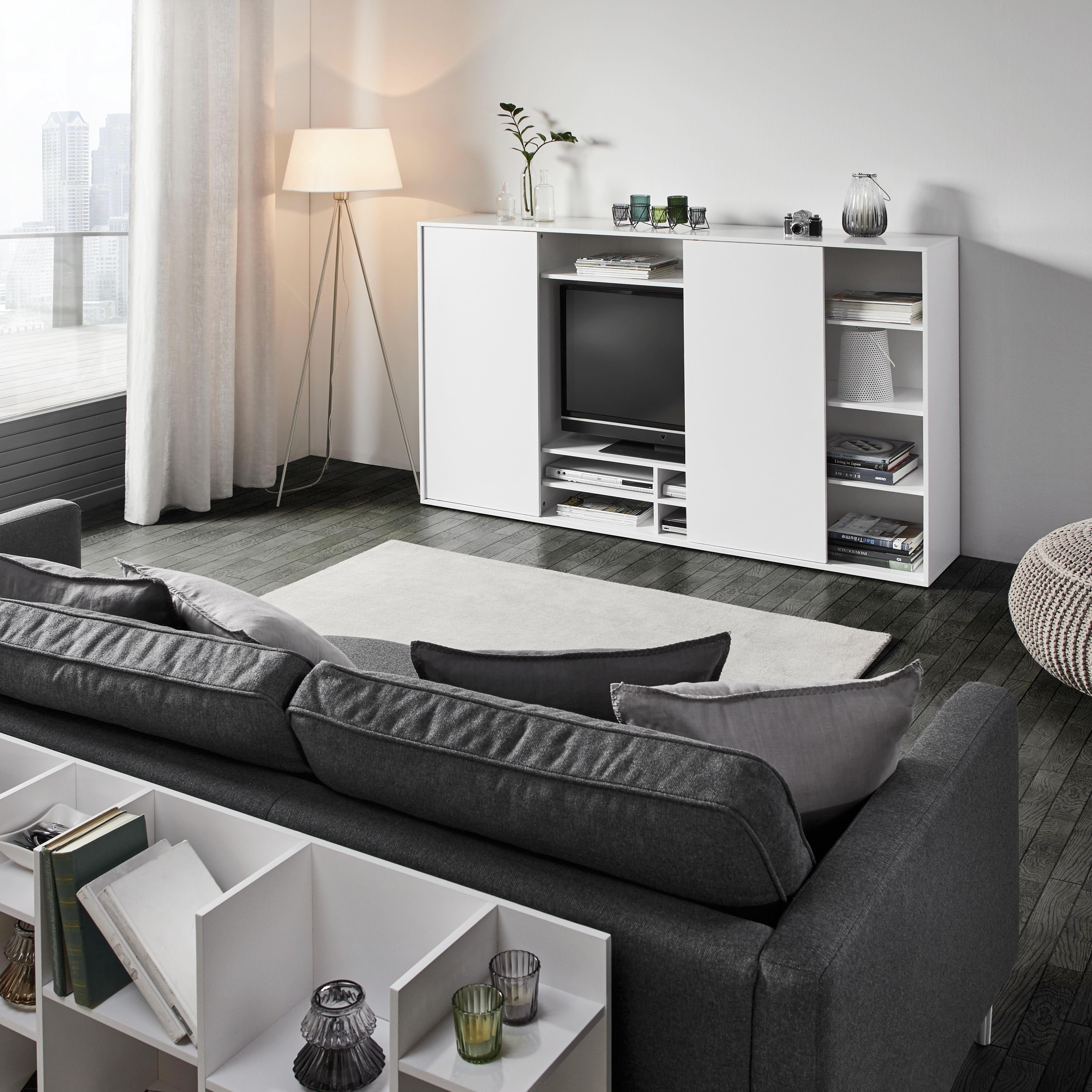 Viersitzer Sofa Bert - Chromfarben/Dunkelgrau, MODERN, Textil/Metall (225/82/97cm) - PREMIUM LIVING