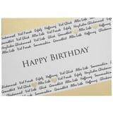 Postkarte Happy Birthday in Weiß - Goldfarben/Weiß, Papier (14,8/10,5cm)
