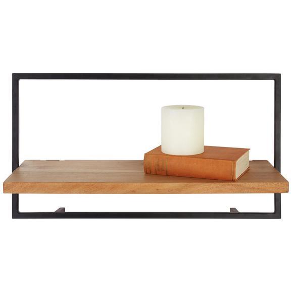 Wandregal Schwarz/Akazienfarben - Schwarz/Akaziefarben, MODERN, Holz/Metall (65/35/25cm) - Modern Living