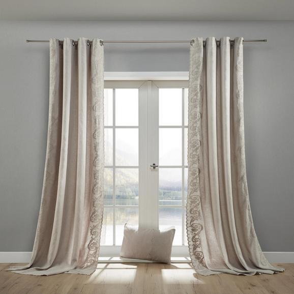 Vorhang Nele aus Leinen ca. 140x245cm - Grau, ROMANTIK / LANDHAUS, Textil (140/245cm) - Bessagi Home