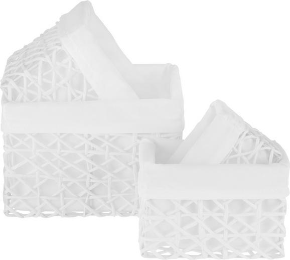 Korb Pia in Weiß, 4-teilig - Weiß, ROMANTIK / LANDHAUS, Papier/Metall (21/18/14cm) - ZANDIARA