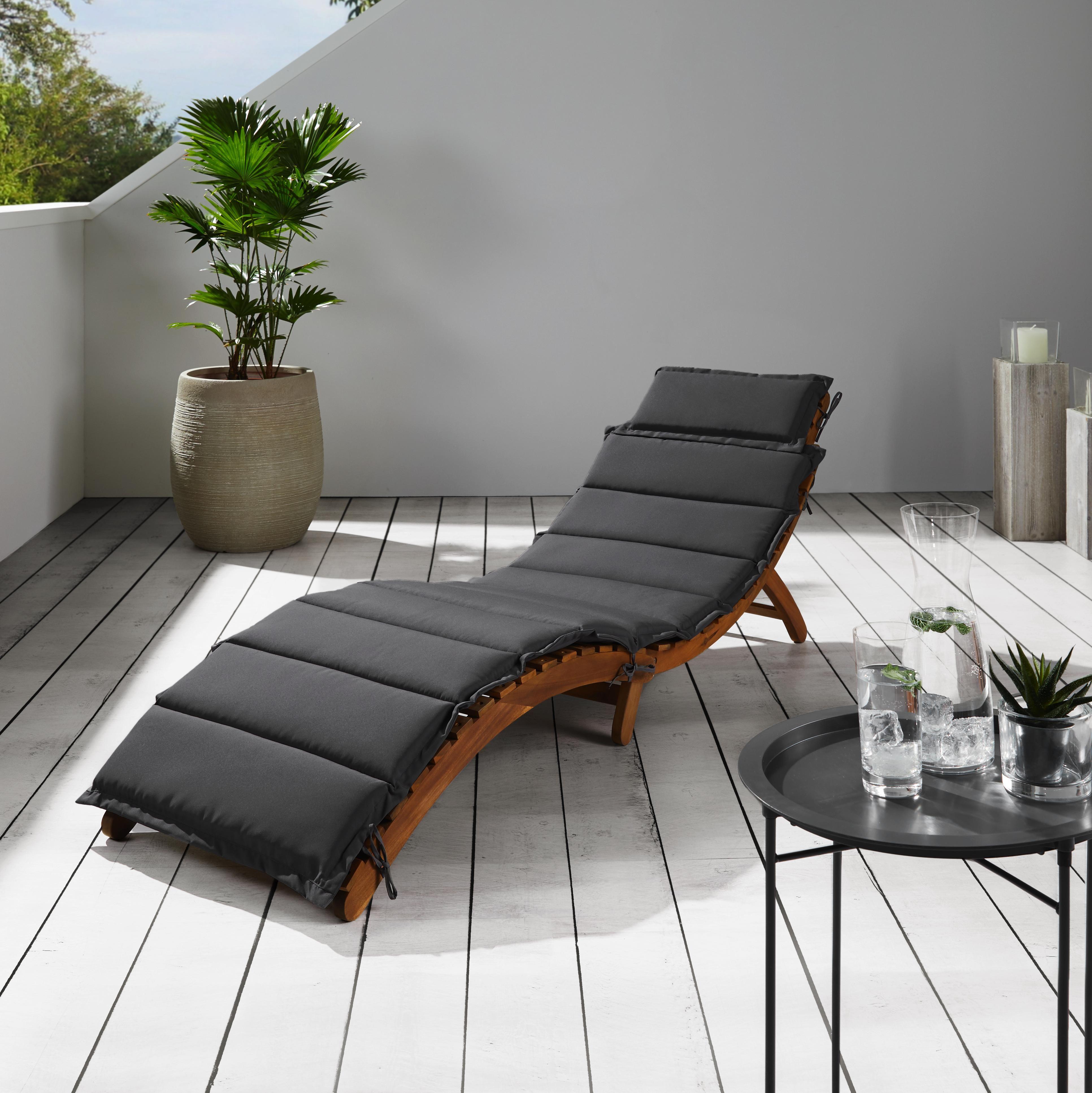 Gartenliege Bora aus Akazienholz inkl. Auflage - Schwarz, MODERN, Holz/Textil (186/54/56cm) - Modern Living
