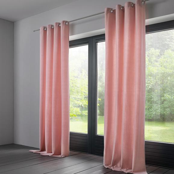 Vorhang Lucia aus Samt ca.135x245cm - Rosa, KONVENTIONELL, Textil (135/245cm) - Bessagi Home