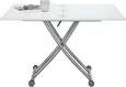 Couchtisch Weiß Hochglanz - Silberfarben/Weiß, MODERN, Holzwerkstoff/Metall (60-120/14-77/100cm) - Premium Living