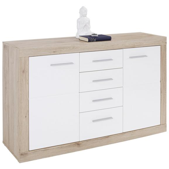 Servantă Malta - alb/culoare lemn stejar, Modern, compozit lemnos (138/86/35cm)