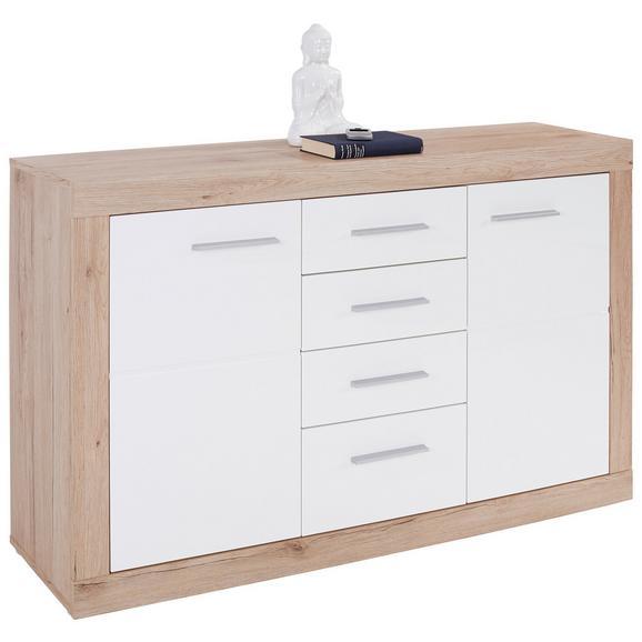 Servantă Malta - alb/culoare lemn stejar, Modern, plastic/compozit lemnos (138/86/35cm)