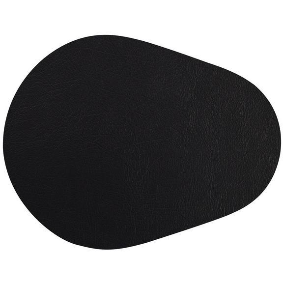 Tischset Jette aus Leder in Schwarz - Schwarz, Leder (45/35cm) - Premium Living