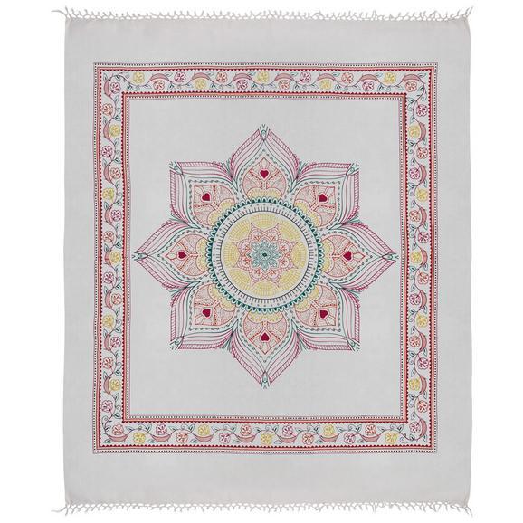 Strandtuch Laila in Weiß ca. 210x240cm - Türkis/Pink, Textil (210/240cm) - Mömax modern living