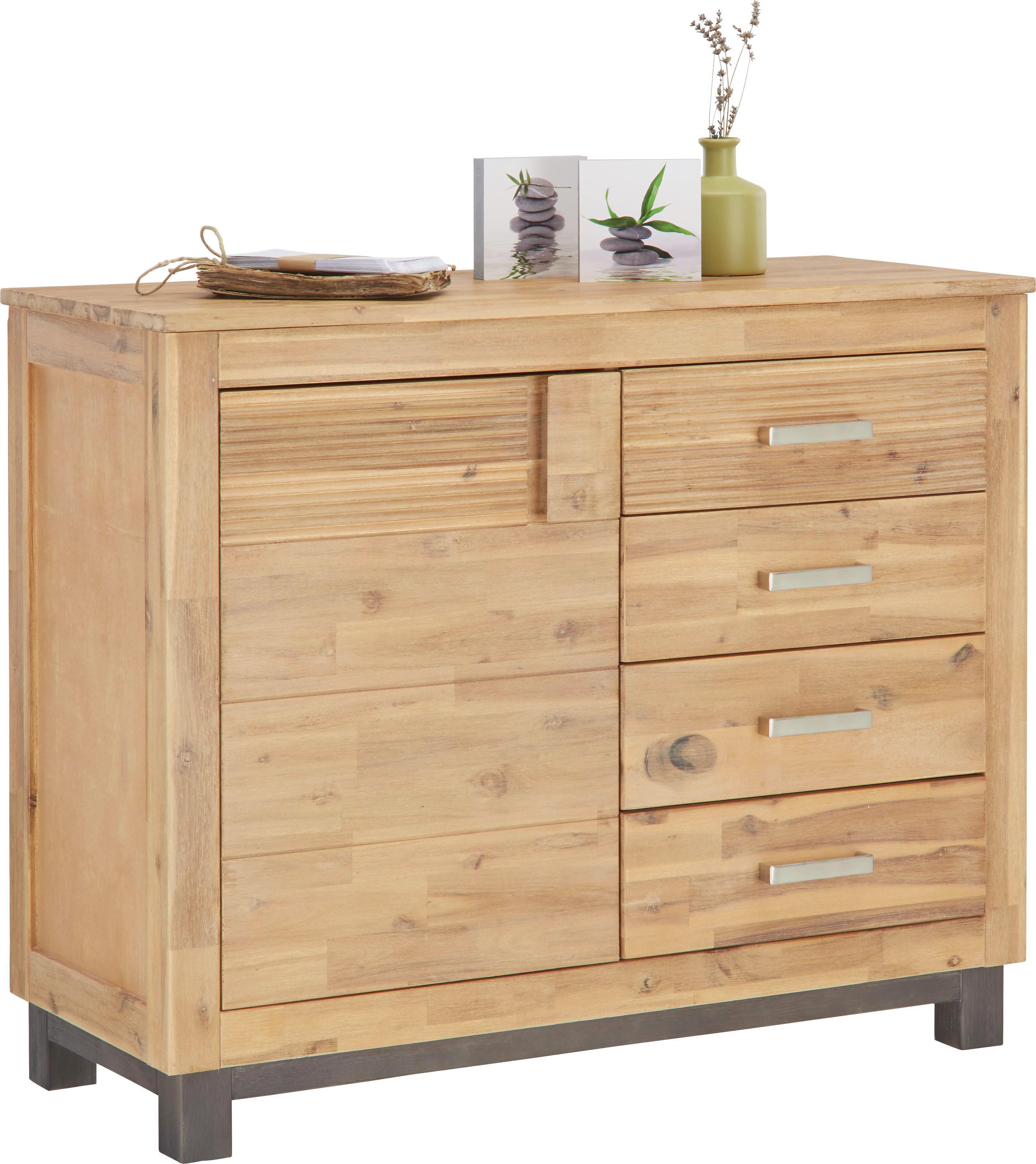 Kommode aus Akazie - Silberfarben/Akaziefarben, KONVENTIONELL, Holz/Holzwerkstoff (110/90/45cm) - ZANDIARA