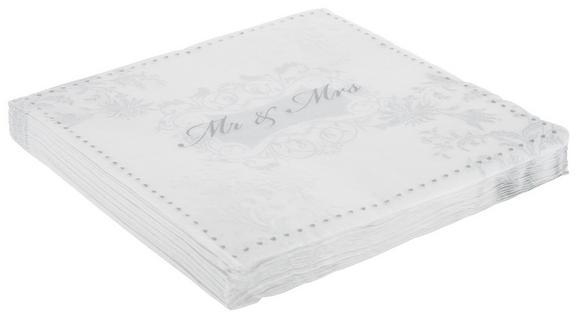 Serviette Mr&mrs Weiß/silber - Silberfarben/Weiß, Papier (33/33cm)