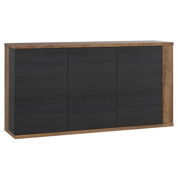 Comodă Lacjum - culoare lemn stejar/negru, Modern, plastic/compozit lemnos (161,5/85,1/41,6cm)