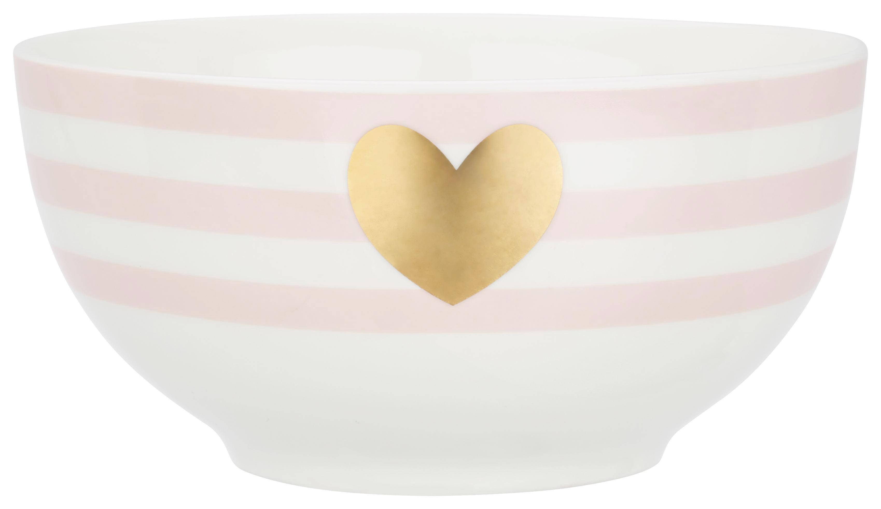 Skodelica Za Kosmiče Bibi - roza/zlata, Romantika, keramika (14cm) - MÖMAX modern living