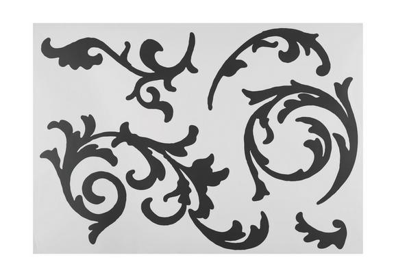 Dekosticker Ornamentranke in Schwarz - Schwarz, Kunststoff (50/70cm) - Mömax modern living