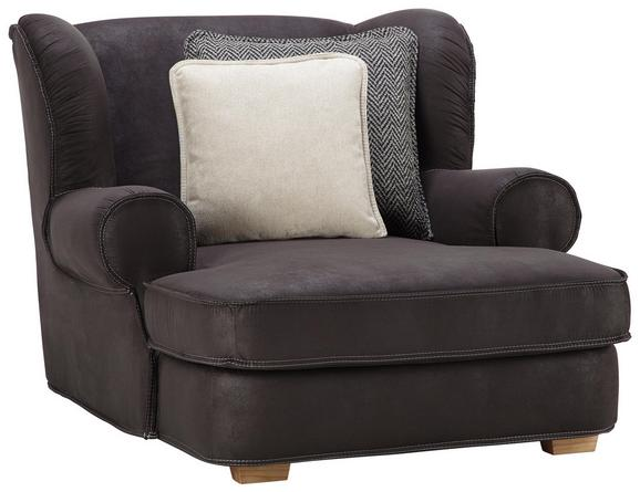 Big Sessel in Grau - Dunkelgrau/Eichefarben, MODERN, Holz/Textil (123/95/46/145cm) - Premium Living