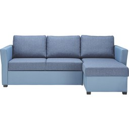Sedežna Garnitura Milo - modra/črna, umetna masa (230/87/153cm) - Mömax modern living