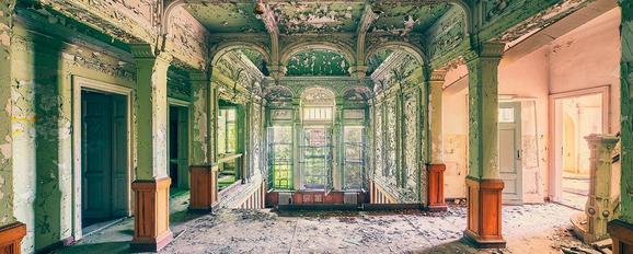 Glasbild Villa Green, ca. 50x125x2cm - Multicolor, ROMANTIK / LANDHAUS, Glas (50/125/2cm)
