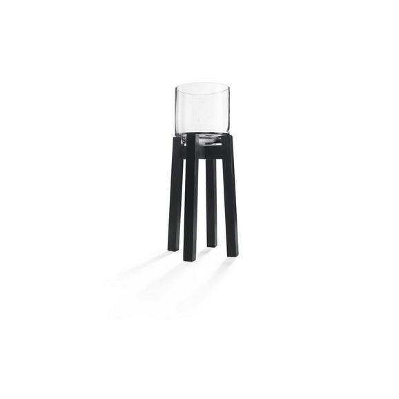 Lámpás Lukas - Fekete, Üveg/Fa (21,5/21,5/60cm) - Mömax modern living