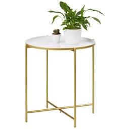 Beistelltisch Weiß/Goldfarben - Goldfarben/Weiß, MODERN, Metall (47/50cm) - Modern Living