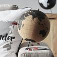 Globus Wander mit Weltkarten Design - Schwarz/Braun, Naturmaterialien/Holz (20/25,8cm) - Premium Living