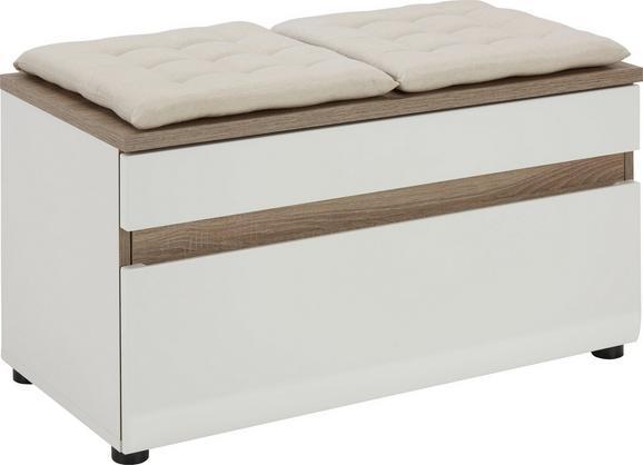 Garderobna Klop Linate - bela/hrast, Moderno, leseni material (85/46/42cm) - MÖMAX modern living