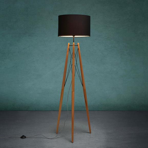 Stehleuchte Goa - Schwarz/Braun, MODERN, Holz/Textil (60/156cm) - MODERN LIVING