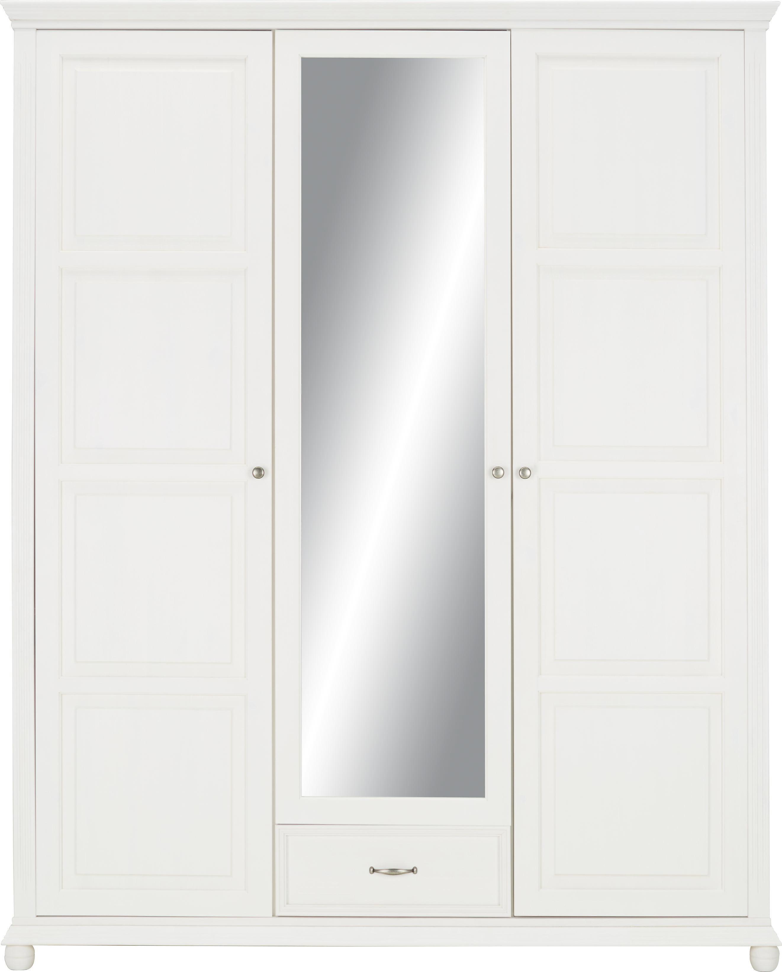 Drehtürenschrank in Weiß - Weiß, ROMANTIK / LANDHAUS, Holz/Metall (180/220/65cm) - ZANDIARA