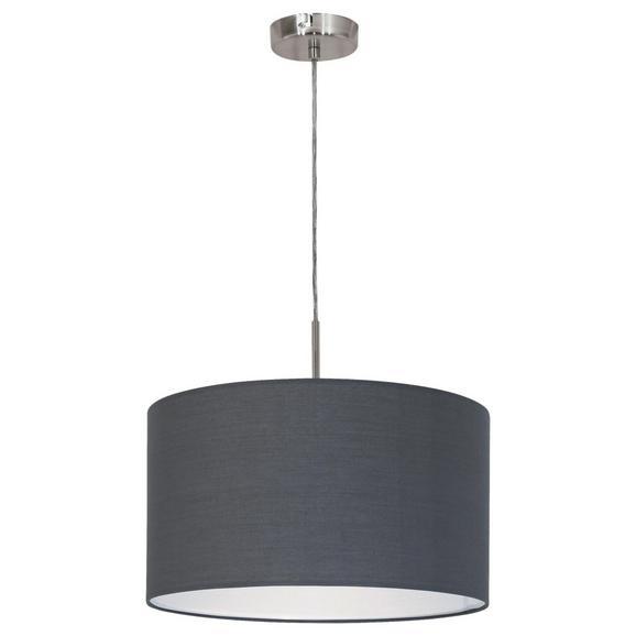 Pendelleuchte Pasteri - Grau/Nickelfarben, MODERN, Textil/Metall (38/110cm)
