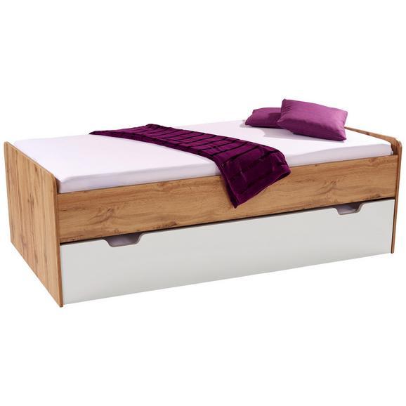 Pat Maxi - alb/culoare lemn stejar, Konventionell, compozit lemnos (207/58/95cm)