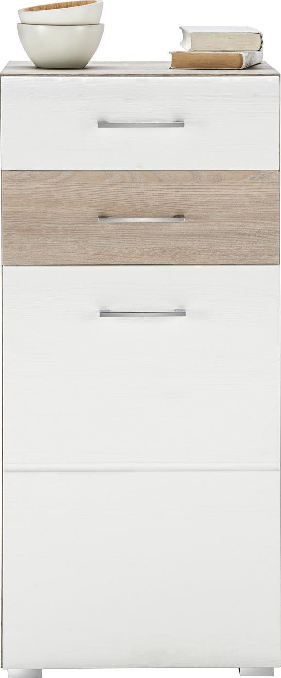 Kommode in Silbereiche/Weiß - Chromfarben/Weiß, MODERN, Holzwerkstoff/Metall (48/104/40cm) - MÖMAX modern living