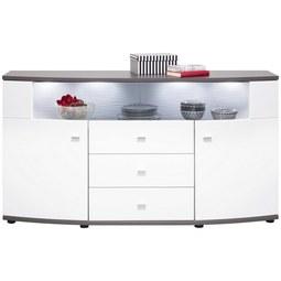 Sideboard in Weiß Hochglanz - Anthrazit/Silberfarben, MODERN, Holzwerkstoff/Kunststoff (160.0/86.8/41.6cm) - Premium Living