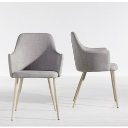Stuhl Milenka - Hellgrau, MODERN, Holz/Textil (58/86/60cm) - Modern Living