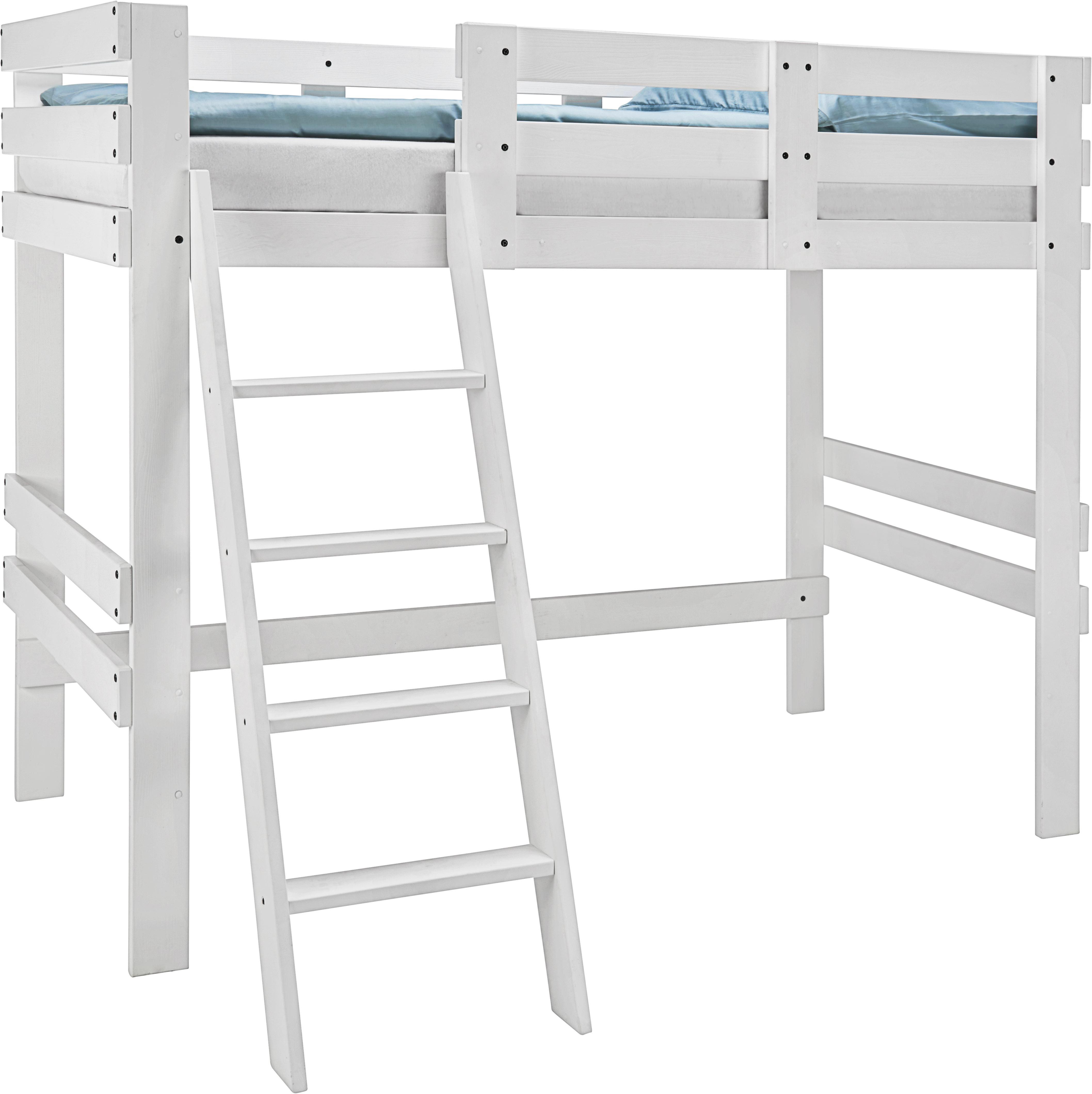 Hochbett in Weiß, ca. 90x200cm - Weiß, MODERN, Holz (205/165/100cm) - ZANDIARA