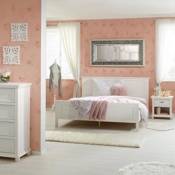 Bett Weiß 140x200cm - Weiß, ROMANTIK / LANDHAUS, Holz (206,8/154/105cm) - Zandiara