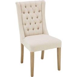 Stuhl in Creme - Eschefarben/Creme, ROMANTIK / LANDHAUS, Holz/Textil (51/104/63cm) - Zandiara