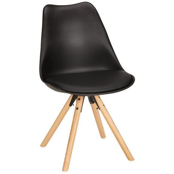 Stol Lilly - črna/hrast, Moderno, umetna masa/les (48/81/57cm) - Modern Living