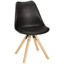 Stuhl in Schwarz teilmassiv - Eichefarben/Schwarz, MODERN, Holz/Kunststoff (48/81/57cm) - Modern Living